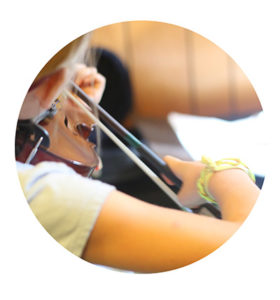 close up of student playing